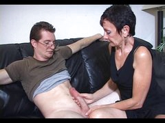 Mum Marie makes his large jock cum