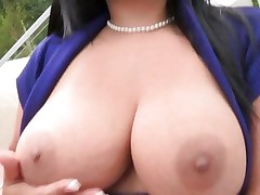 Rampant Sophia Lomeli shows off her massive milk cans