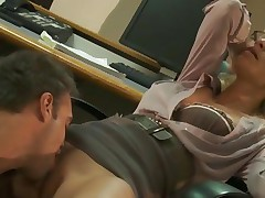 Wicked Jessica Drake is licked out in her office