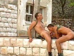 2 sexy and pleasing army dudes are pounding and drilling every other