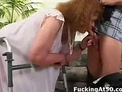 Granny can barely walk but this babe can still give a admirable fucking