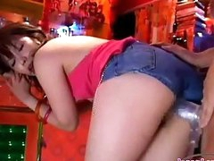 Oriental Girl With Petite Tits Screwed With Strapon In The Bar