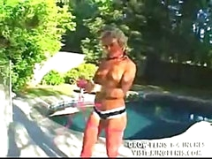Bikini angel gets on her knees to suck and gets fucked bent over