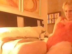Golden-haired receives horny after virtual sex and begins self-pleasuring. She masturbates, stroking her clitoris and feels forthcoming orgasm. Suddenly this babe notices that this babe forgot to turn off web-camera, but now that can't stop her.