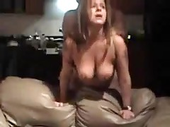 Older doxy with large natural boobs is screwed from behind, her chap is coarse with her.