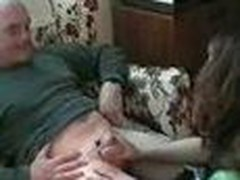 Busty brunette sucks older chap then acquires tied up and wanked until that sweetheart cums
