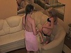 Luxurious hotel room with comfortable ottoman turned into a sexy fuck platform for 2 harlot bimbos watched by spy camera. They in nature's garb and enjoyed the wildest rubbing act for their juicy beavers!
