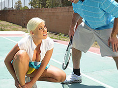 Britney can't live without a little healthy competition. Britney likewise has a healthy set of jumbo knockers. When Charles meets up with her for a match, Britney is in way over her head. Not solely is this chab a more outstanding tennis player, but this sweetheart risks being flopped out of the league entirely. As a final minute ploy, Britney uses her wits and her zeppelins in order to win the match!