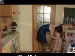 Lesbo older honey warms up a stunning gal begging for soaked tongue job