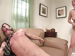 Gwen Diamond likes cock and domination, this babe tied this chap on the couch with his legs spread and this babe ball gagged his face hole so that chap won't scream while this babe grabs his balls hard and sucks his dick after a good hard whipping. Stuffing her face hole with cock is even greater amount pleasant for her as lengthy as this babe squeezes those balls.