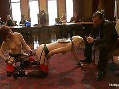 Dylan Ryan is a blond milf with nice natural scones who likes being an obeying sex slave. The sweet girl likes when someone is inserting wooden poles in her bald pussy. Watch her sucking on that cock whilst this chick acquires dildo fucked with roughness from behind. The kneeling chick gags his cock for more pleasure.