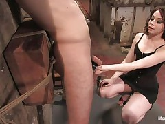 Hawt guy Wolf has his hands tied up by a very hot femdom-goddess called Amber. She enjoys attaching weights to his nipps and hairless balls. Then, this chab gets his tight ass whipped for being such a bad boy. What punishments do u think she has prepared next for him?