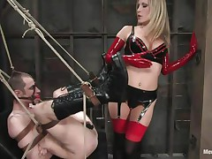 See this super sexy blonde mommy teaching this bad boy a lesson in hard way. This hottie bound him up and gagged his face aperture before fucking his world upside down! This hottie puts on a strap on and fucks him real hard. This hottie likewise locked his cock so that he can't cum! This hottie keeps teasing his cock and fucking his wazoo with pleasure!