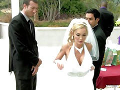 What a sexy bride but this babe has second thoughts about her wedding because this babe can't live without to engulf and fuck cock so this babe does this with this stranger during the time that her future husband awaits. This man starts rubbing her fur pie under the wedding dress and makes her horny until this babe acquires down on her knees preparing to engulf his dick. Will he fuck her pretty mouth?