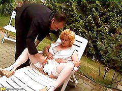 Watch this horny old lady getting mad and some old men playing along with her. One of the man hairless her mature cum-hole and then the other one comes in to help her out. He fingers her cum-hole and love button marvelous well. Then he takes out his jock to get a precious blowjob from this mature bbw whore!