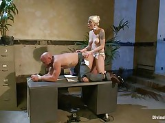 Chad Rock thinks he'll impress mastix Lorelei Lee with his business suit. She's unimpressed. She bonks him from behind on the desk with her black strap-on then flips him over on his back and pounds his booty harder. She strokes the doxy boy's cock and allows him to squirt his spunk all over himself.