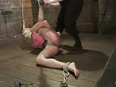 Amber never felt so abased in her life! That babe is bound with one leg up, blindfolded and mouth gagged. That babe get's what that babe deserves, an humiliating treatment that involves a lot of spanking. Look how her shoe is removed and her foot is spanked and then her thigh too. Does that babe enjoys the pain, should that babe receive some more?