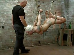 I wager u love seeing a cute golden-haired slut getting what that sweetheart deserves. If u do then see this fastened up angel that is hanging there getting punished for being such a bad girl. Her pretty face begs for mercy but that sweetheart ain't going to get any, instead that sweetheart will receive a nice big cock in her sweet mouth. This sweetheart sucks that dick and starts to have a fun it a lot, maybe pang is fun to her when that sweetheart gets fucked.