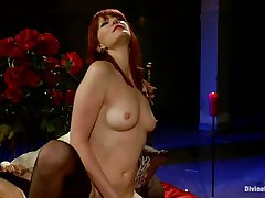 Her long red hair, sexy legs and gorgeous face makes this guy want to obey to her devilish wishes so this guy licks her cum-hole like a good tractable boy and then bows over with submission to take it deep in his ass. This sweetheart drills his gap with her strap on sex tool and makes him moan, what else this headmistress has prepared for him?