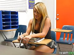 Holly is a nasty schoolgirl and this chick has got an stylish body. When this chick is taking private tuition her teacher was off for a second and instantly this chick begins rubbing her pussy. Her teacher has seen that, so this chab punished her by groping her boobs and rubbing her vagina and preparing her to fuck hard.