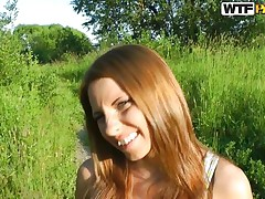 I just love this time of day. The way the sun looks makes it the perfect. Even more good is the fact I have Madelyn to play with. This brunette hair babe loves being outside and truly loves getting naked and this babe really, truly loves to have a dick in her mouth. See her take it and suck it!