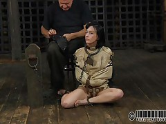 Sexy brunette Elise is all bound up and chained and sits tractable on the floor near to her executor who puts a mask on her face. This guy explains this s&m technique and what this babe is supposed to do. The bitch enjoys being the center of attention and waits for her bondage treatment. Wanna watch what happens to her?