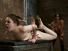 Brunette hair chick with marvelous face and sexy ass is getting whipped by this playgirl with large tits. She has laundry pliers on her toes and tongue and it looks like that babe enjoys the pain. After whipping her that babe starts fisting her oiled cunt 1st with one hand and then with both of them. Her snatch barely takes it but that babe has to endure her treatment because she's bound up really good. When that babe finishes using her hands and a vibrator to fuck that pussy, the breasty playgirl starts to untie her, what's going to happen next?
