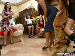 Bear was dancing but the hot hotties around made him so hot that it jumped out of its skin and started receiving individual attention from the hotties surrounding him. Therefore, it was no surprise to watch his pole is unbending and standing away from his body defying gravity as hotties proceed teasing it