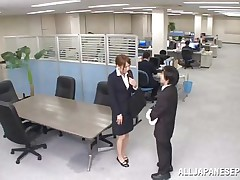 Now that is not a way to treat your work place! The lascivious Japanese employee goes on the desk and pisses on it. This babe is a bit shy and worried about what her colleagues will think, luckily this one supports her and even greater amount then that, this chab gives the whore his dick for a rub and much more. Wonder what she will do next?