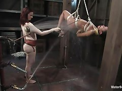 That gal needs an intensive washing and some spanking too and this mistress knows how to do the job right! That babe hanged her and washed her fit hot body until that babe putted down, fastened her with another rope and secured her in a ideal position. Are u thinking for what is that dildo in the wall?