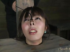 Fucking wench Marica with pretty face is all tied up in a box and has a vibrator on her tight pussy. That babe moans with pleasure, pleasing her horny slaver Matt who makes her face aperture engulf his big hard cock. That guy sticks it in her impure face aperture and stays there, making her cunt so wet and wishing for more!