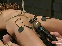 The man is showing his skills in domination and punishment. This dude putted laundry pliers on this slut's boobs and then suckers on her nipples before rubbing her love button with a vibrator. After rubbing that fur pie priceless and good this dude hangs her and probably has smth very special for her ass, would you like to watch that?