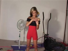 Constricted workout garments on slender stripping sweetheart