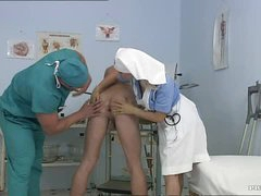 Breasty Blonde Nurse Kathy Sweet Gets Facialized In a Bi sexual 3some