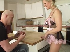 Milf in French maid underware sucks his cock and ass
