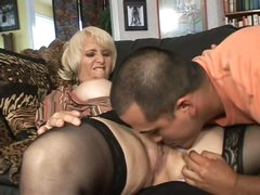 Older blonde Sophie Mounds with juicy pierced snatch
