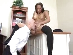 Nailing petite darksome chick on his desk
